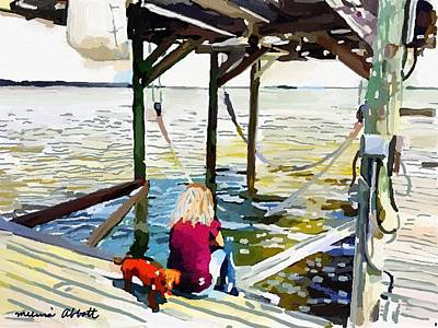 Painting - Julie And Noodle On Her Banana River Dock, Merritt Island, Fl by Melissa Abbott
