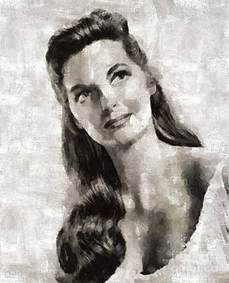 Elvis Presley Painting - Julie London, Actress by Mary Bassett