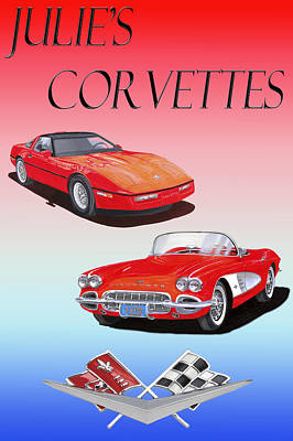 Painting - Julies Corvettes Without Borders by Jack Pumphrey