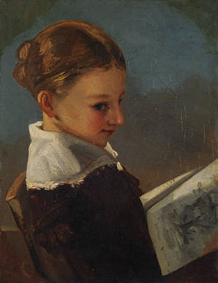 Chair Painting - Juliette Courbet At The Age Of Ten by Gustave Courbet