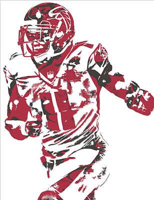Mixed Media - Julio Jones Atlanta Falcons Pixel Art 10 by Joe Hamilton