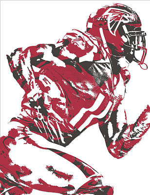 Mixed Media - Julio Jones Atlanta Falcons Pixel Art 11 by Joe Hamilton