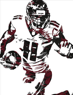 Falcons Wall Art - Mixed Media - Julio Jones Atlanta Falcons Pixel Art 4 by Joe Hamilton