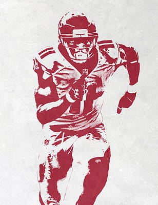 Falcon Mixed Media - Julio Jones Atlanta Falcons Pixel Art by Joe Hamilton