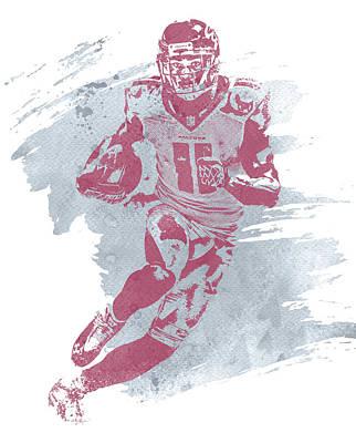 Atlanta Falcons Wall Art - Mixed Media - Julio Jones Atlanta Falcons Water Color Art 1 by Joe Hamilton