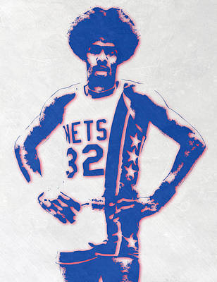 Team Mixed Media - Julius Erving New York Nets Pixel Art by Joe Hamilton