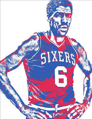 Julius Erving Philadelphia Sixers Pixel Art 1 Art Print