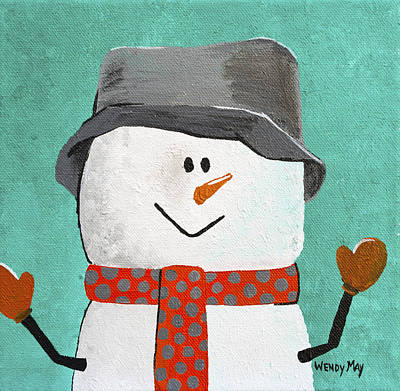 Painting - Julius The Snowman by Wendy May