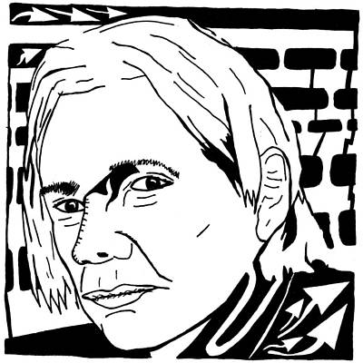 Yfrimer Drawing - Jullian Assange Maze by Yonatan Frimer Maze Artist
