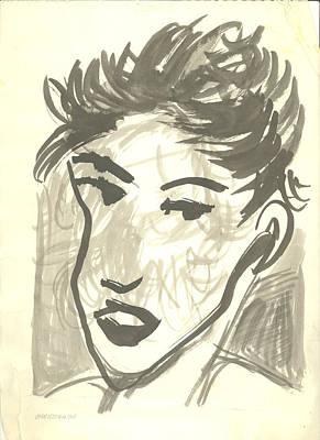 Head Shot Drawing - Jullie In Short Hair by James Christiansen