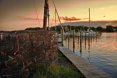 Crab Pots And Sailboats Art Print