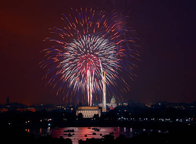 Photograph - July 4th Fireworks Washington D C by Carol M Highsmith