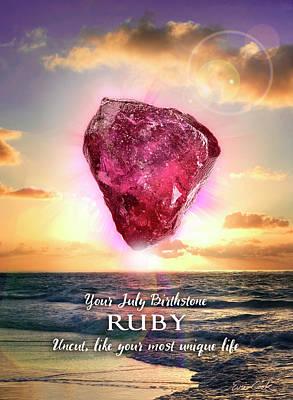 Digital Art - July Birthstone Ruby by Evie Cook