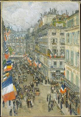 July Fourteenth Rue Daunou 1910 Original by Childe Hassam