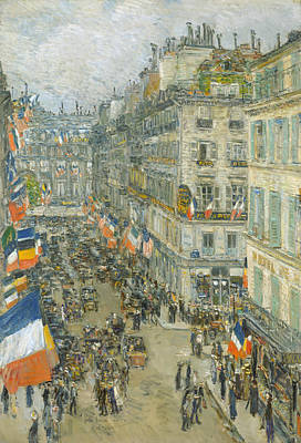 Painting - July Fourteenth, Rue Daunou by Childe Hassam