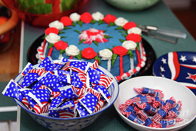Photograph - July Fourth Independence Day Cake And Candy by James Brunker