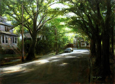 Shady Street Painting - July Morning by Sarah Yuster
