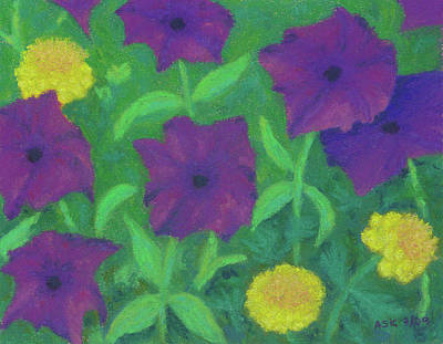 Pastel - July Petunias by Anne Katzeff