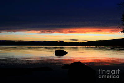 Photograph - July Reflective Lake Umbagog Sunset  by Neal Eslinger