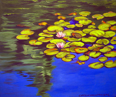 Lime Painting - July Waterlilies by Clayton Singleton