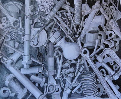 Hardware Drawing - Jumble by Susan Anderson