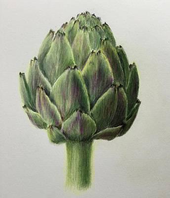 Artichoke Drawing - Jumbo Artichoke by Jane Wong