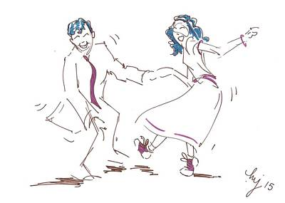 Drawing - Jump To The Beat - Classic Rock And Roll Jive Dancers Illustration  by Mike Jory