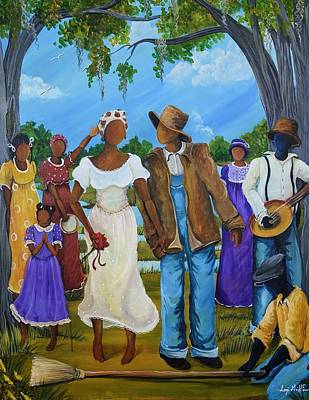Gullah Art Painting - Jumpin' The Broom by Sonja Griffin Evans