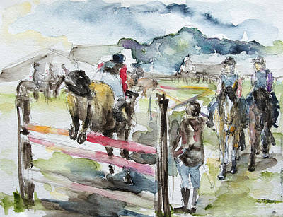 Jumping A Course Art Print by Barbara Pommerenke