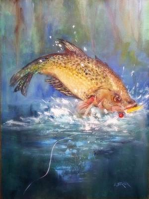 Lynn Burton Wall Art - Painting - Jumping Crappie by Lynn Burton