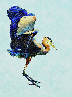 Digital Art - Jumping For Joy Heron Whimsy by Georgiana Romanovna