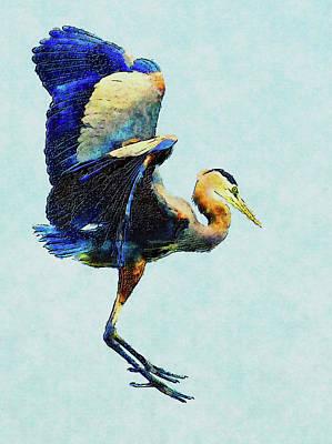 Digital Art - Jumping For Joy Heron Whimsy by Georgiana Romanovna