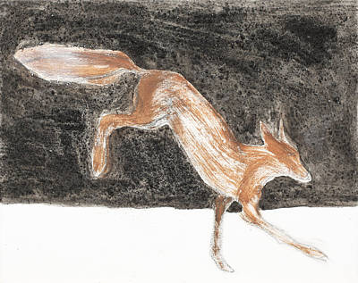 Jumping Fox In The Snow Art Print by Sophy White
