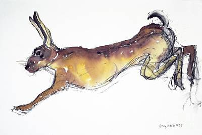 Jumping Hare Art Print by Lucy Willis