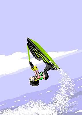 Jumping High On A Green Jet Ski Art Print