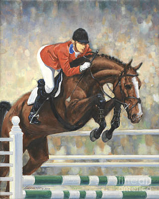 Jumper Painting - Jumping Horse And Girl by Don Langeneckert