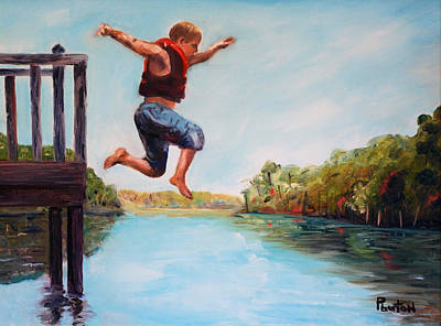 Lake Waccamaw Painting - Jumping In The Waccamaw River by Phil Burton