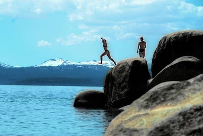 Photograph - Jumping Into The Cold Lake Tahoe Water by Dan Friend