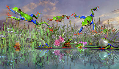Lilies Digital Art - Jumping Joy Spring Time Frogs by Betsy Knapp