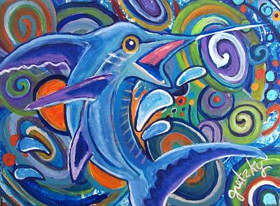 Water Painting - Jumping Marlin by Paintings by Gretzky