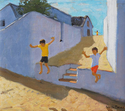 Children Action Painting - Jumping Off A Wall by Andrew Macara