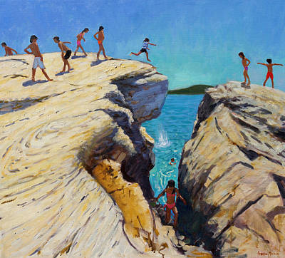 Skiathos Painting - Jumping Off The Rocks by Andrew Macara