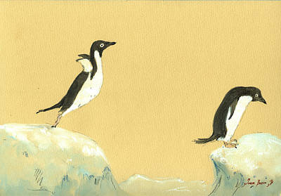Bird Watercolor Painting - Jumping Penguins by Juan  Bosco