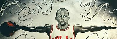 Sports Paintings - Jumpman  by Lawrence Saunders