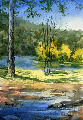 Painting - Junction Of White And Spring Rivers by Virginia Potter