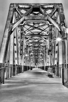 Photograph - Junction Pedestrian Bridge Bw by JC Findley