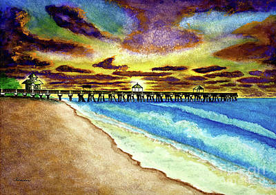 Painting - June Beach Pier Florida Seascape Sunrise Painting A1 by Ricardos Creations