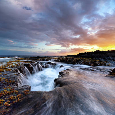 Drain Photograph - June Blow Hole Sunset by Christopher Johnson