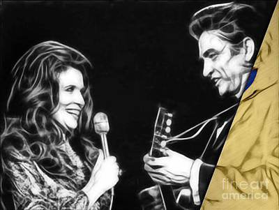 June Carter And Johnny Cash Collection Print by Marvin Blaine