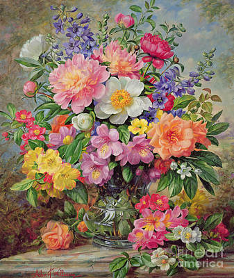 Mantlepiece Painting - June Flowers In Radiance by Albert Williams